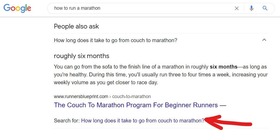 Highlighting option to 'Search for: How long does it take to go from couch to marathon?'