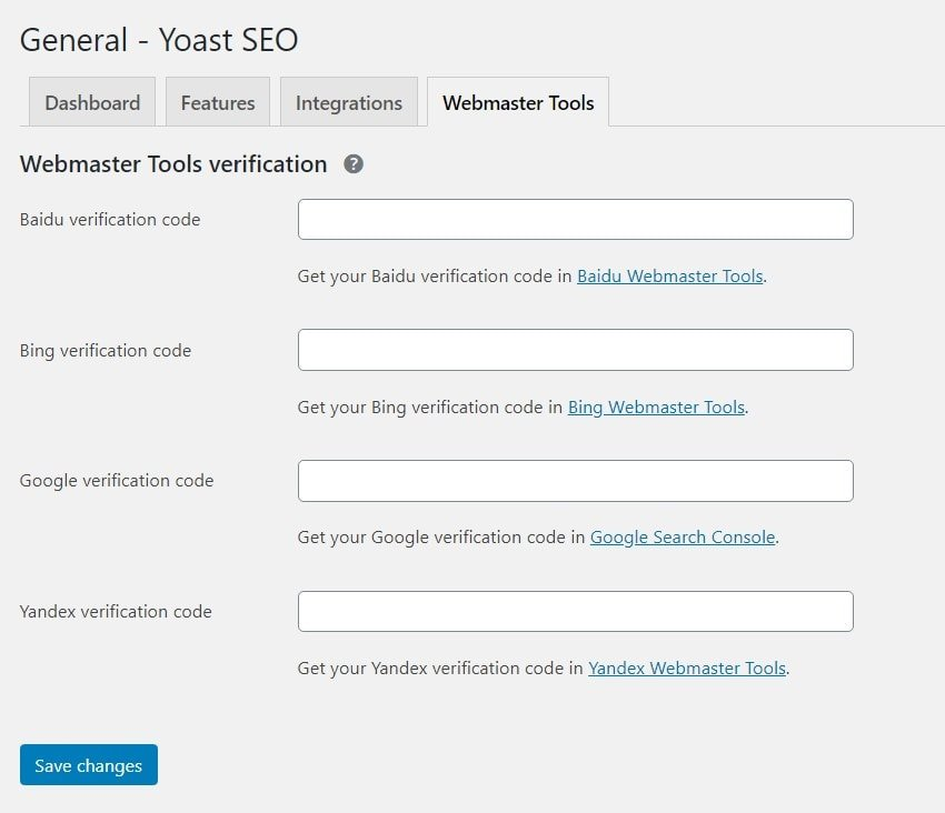 Webmaster tools in Yoast