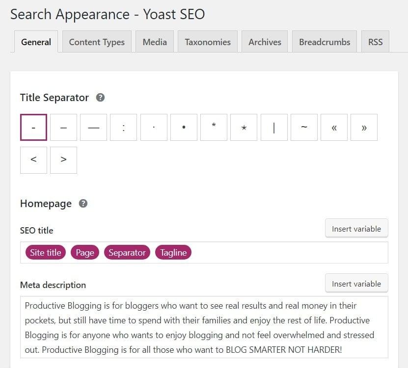 General Search Appearance settings in Yoast