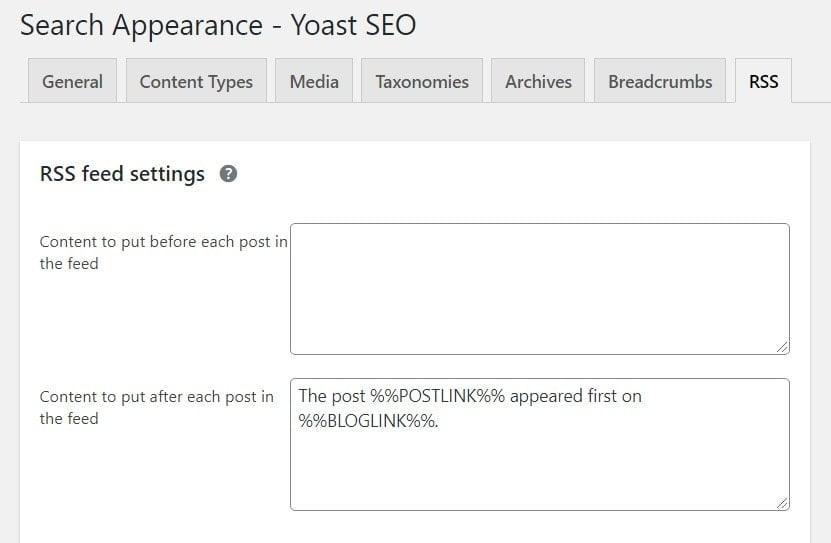 RSS settings in Yoast