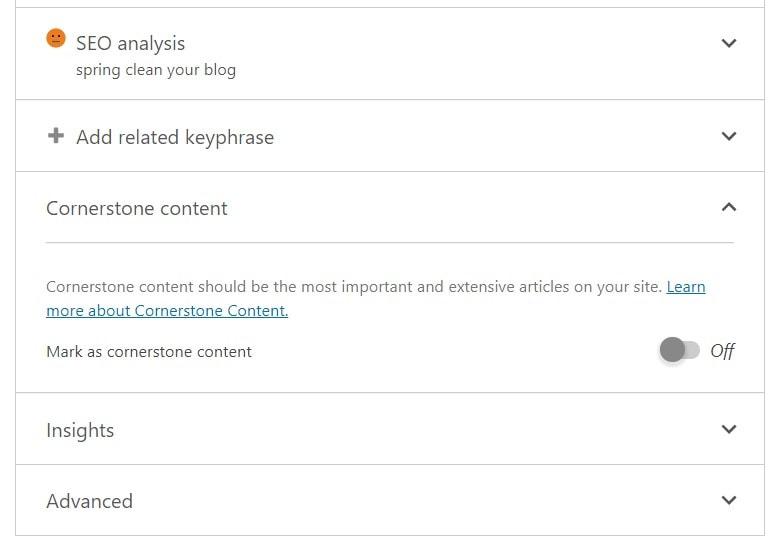 Cornerstone content toggle in Yoast SEO metabox