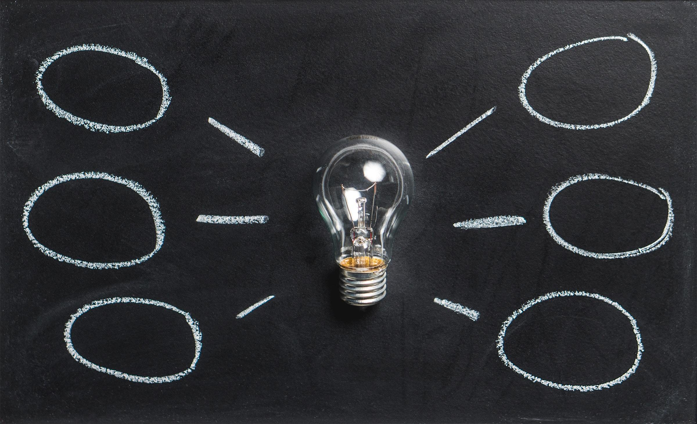 Lightbulb against a blackboard with lines and circles, arranged like a spider diagram, to illustrate the concept of 'ideas'